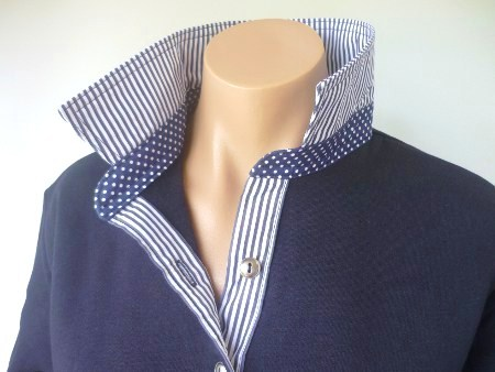 Navy - Thin navy stripe & small navy spot collar stand