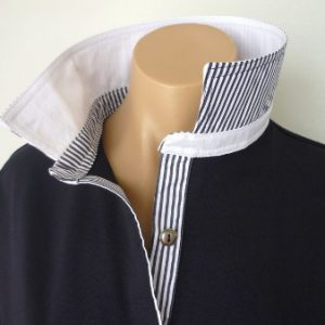 Navy rugby - Plain white & thin navy stripe trim