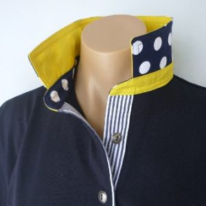 Navy Rugby - Yellow, Big spot & navy stripe tab