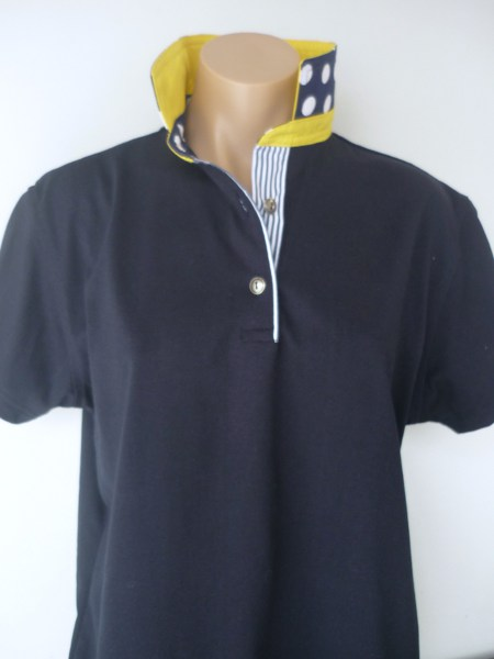 Navy Rugby - Yellow, Big spot & navy stripe tab
