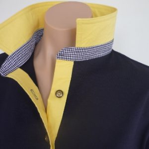 Navy rugby  - Yellow and small navy check stand