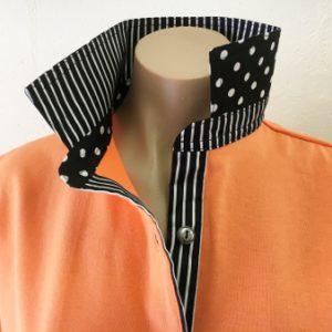 Orange Rugby - Black stripe & spot trim