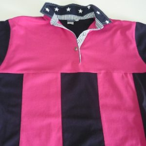 Pink and navy sewn stripe rugby