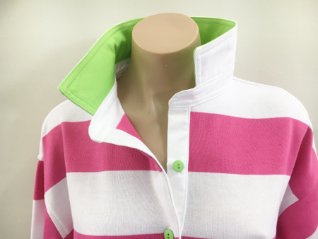 Pink & white stripe rugby - Lime & white trim