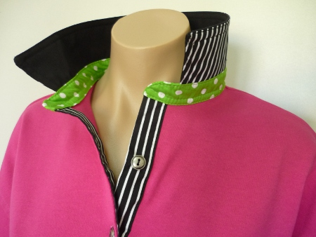 Hot pink rugby - black top collar, lime spot collar stand and classic black stripe