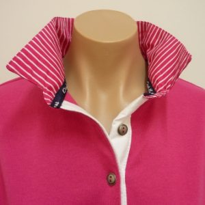 Pink rugby - hot pink stripe and white