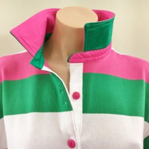Pink/green/white stripe Rugby - multi trim