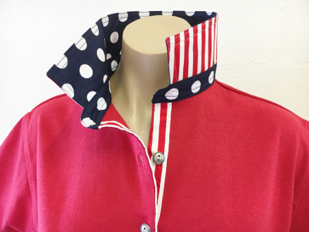 Red rugby - Big navy spot & wide red stripe