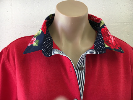 Red rugby - Red rose, navy spots and stripes