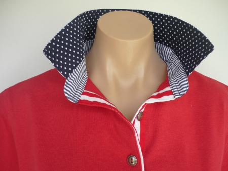 Red Rugby - Dark navy spot & thin navy stripe & wide red stripe tab