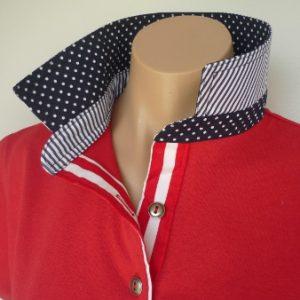 Red Rugby - Dark navy spot & thin navy stripe & wide red stripe tab