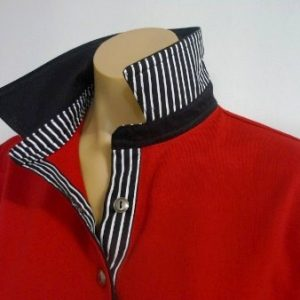 Red rugby - Black and black stripe trim