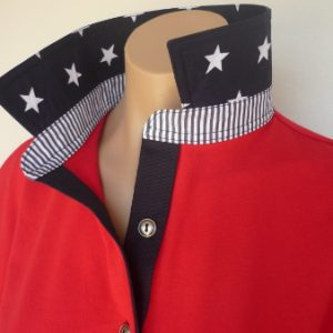 Red rugby - navy star collar, navy stripe stand & plain navy tab