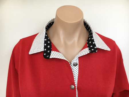 Red rugby - White small dots collar & Black star collar stand