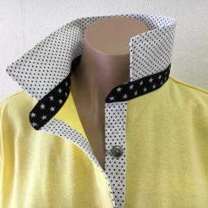 Sorbet Rugby - White/black pin dot & black star collar stand