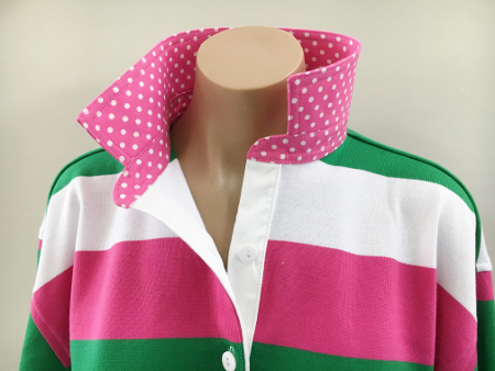 Pink/green/white stripe Rugby - Candy pink spot