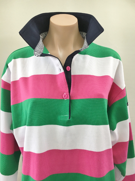 Pink/green/white stripe Rugby - Navy trim