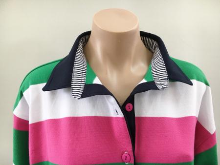 Pink/green/white stripe Rugby - Navy trim