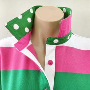 Pink/green/white stripe Rugby - Green spot trim
