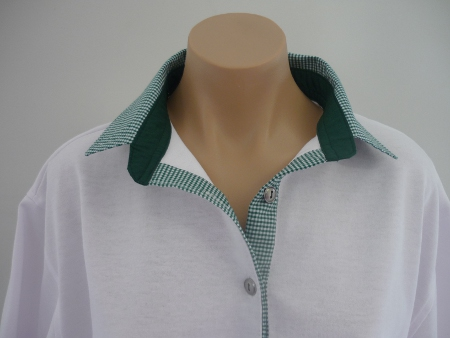White rugby - Bottle green small check and plain collar stand
