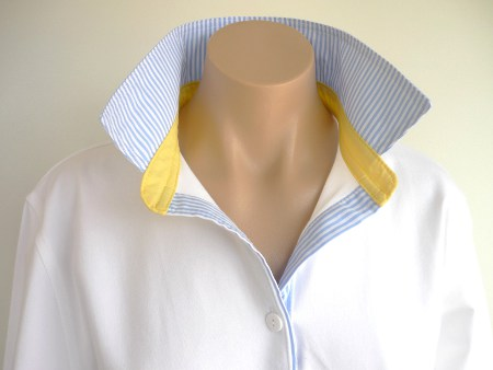White rugby - Light blue stripe & plain yellow trim