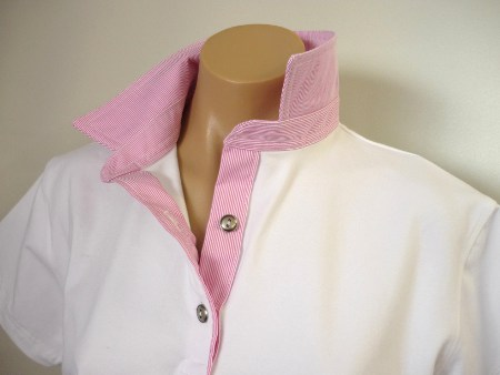 White rugby - narrow candy pink stripe