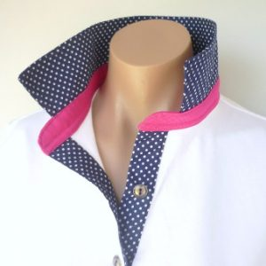 White rugby - Navy spot collar and tab and hot pink collar stand