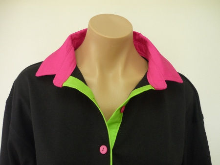 Black rugby - pink collar and stand and tab with lime green tab