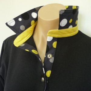 Black rugby - Yellow multi spot trim with Yellow collar stand