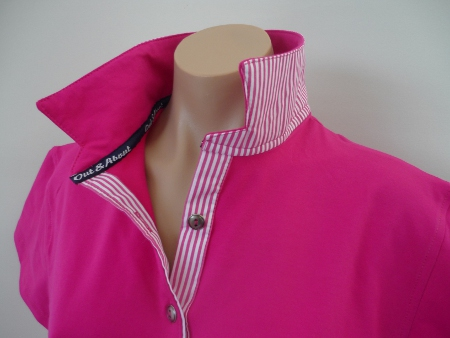 Fuschia stretch rugby - Hot pink stripe + Out About tape