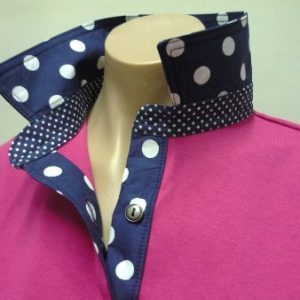 Hot pink - Big navy spot collar and tab & Small navy spot stand