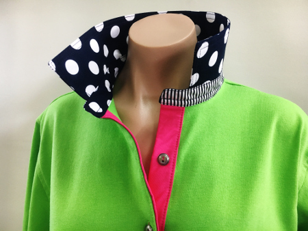 Lime rugby - Big navy spots with hot pink tab
