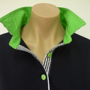 Navy rugby - dark lime collar and navy stripe
