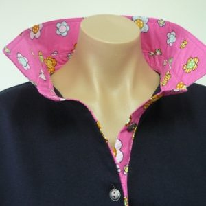 Navy rugby - candy pink flower