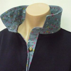 navy rugby -denim floral trim