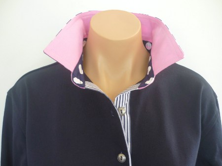Navy Rugby - Light pink with navy stripe & spot
