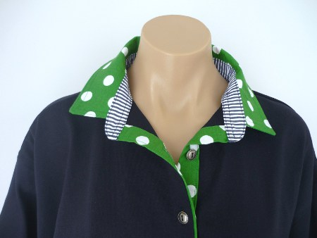 Navy rugby - Large mid green spot & navy stripe stand