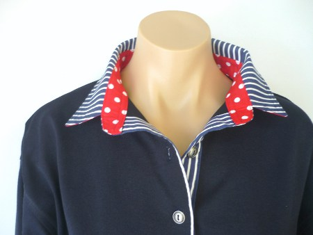 Navy Rugby - Classic navy stripe & Red spot trim