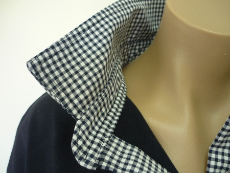 Navy rugby - thick navy check collar, stand and tab