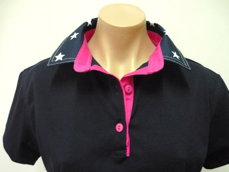 navy rugby - navy star collar with Hot pink trim