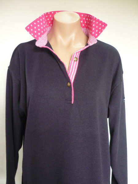 navy rugby- hot pink star, small check and stripe