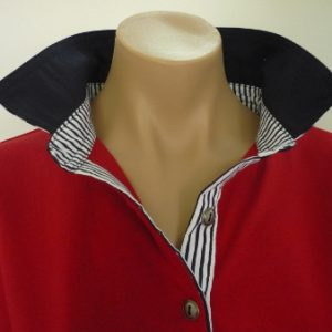 Red rugby - Navy and navy stripe collar