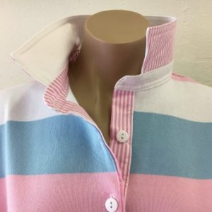White, Pink & sky stripe rugby - White & pink stripe