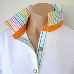 White Rugby - Multi stripe & small orange spot collar stand