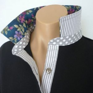 Black rugby - Grey spot & stripe with floral collar