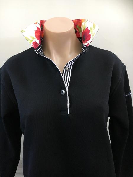Black rugby - Poppy flower trim