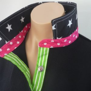 Black Rugby - Star, pink spot & lime stripe trim