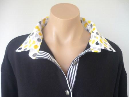 Black rugby - Yellow/grey spot & black stripe