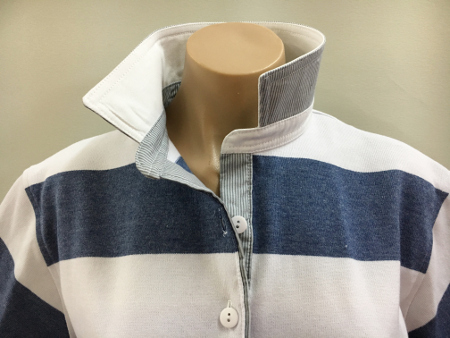 Denim & white stripe Rugby - White & stripe trim
