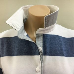 Denim & white stripe Rugby - White & stripe trim